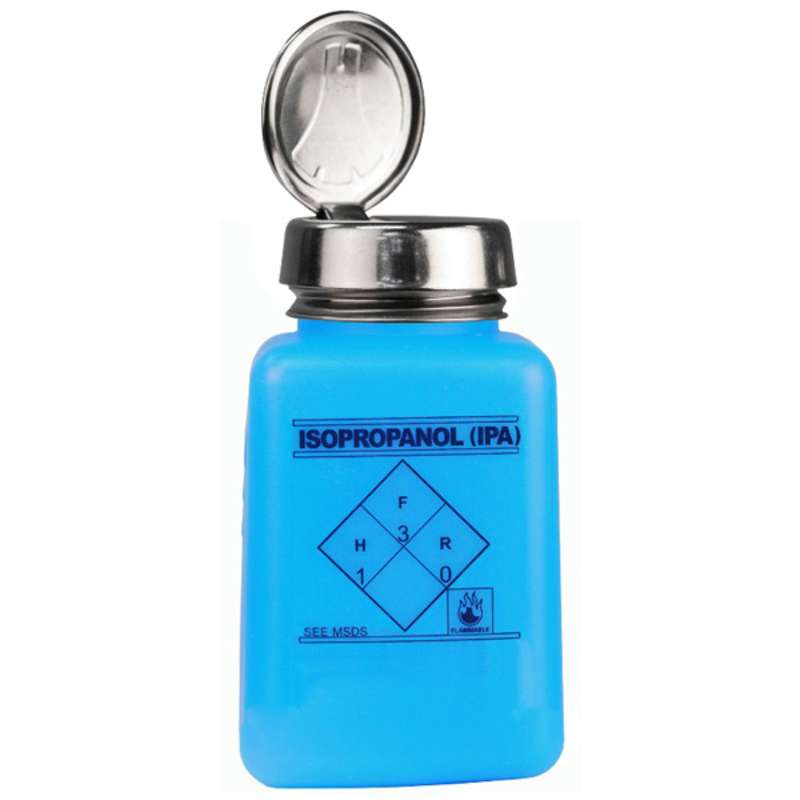 ESD-Safe Blue durAstatic® Isopropanol IPA Solvent Dispenser Bottle with One-Touch Pump, 6 oz