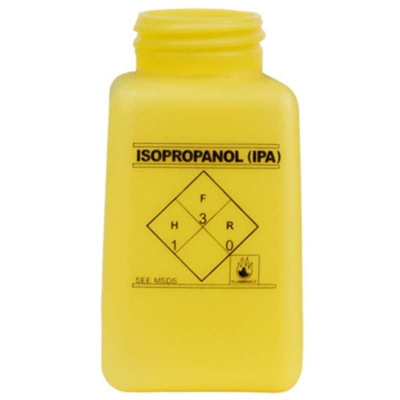 ESD-Safe Yellow durAstatic™ Isopropyl Alcohol Solvent Dispenser Bottle without Lid, 6 oz
