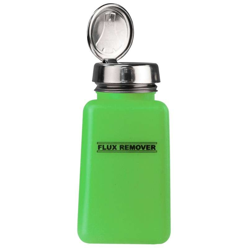 ESD-Safe Green durAstatic? Flux Remover Solvent Dispenser Bottle with One-Touch Pump, 6 oz