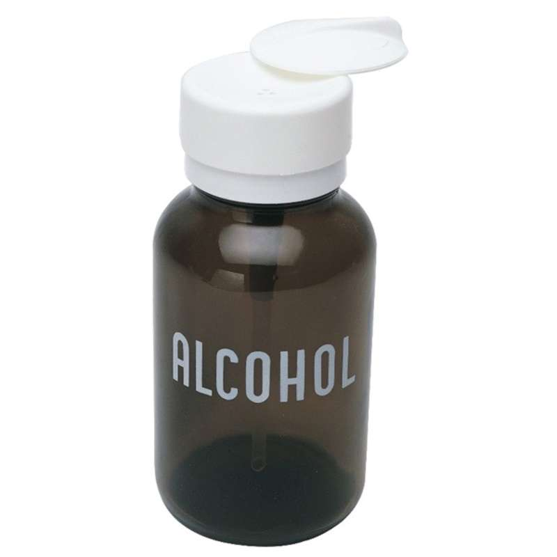 """Amber Glass Dispenser Bottle with Lasting-Touch Pump, Printed """"Alcohol"""", 8oz"""