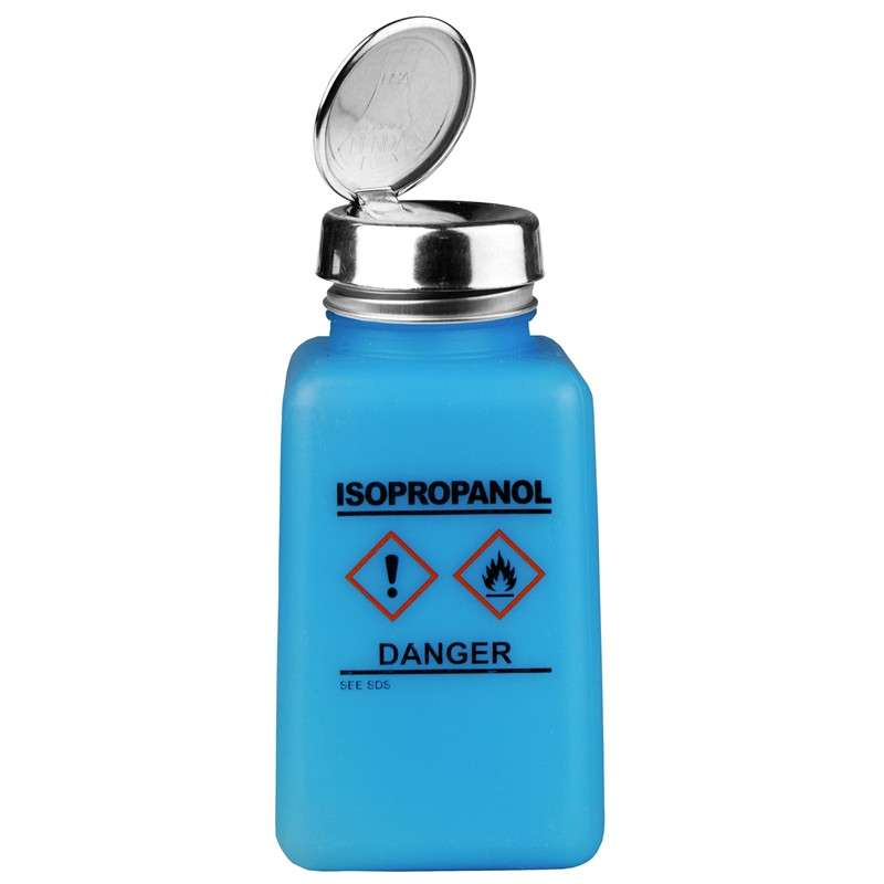 durAstatic™ ESD-Safe IPA Solvent Dispenser Bottle with HCS Label and One-Touch Pump Lid, Blue, 6 oz.
