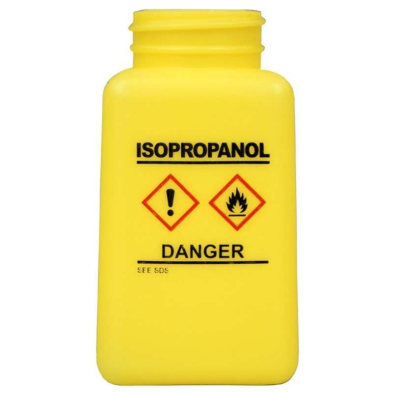 durAstatic™ ESD-Safe Isopropyl Alcohol Solvent Dispenser Bottle with HCS Label and No Lid, Yellow, 6 oz.