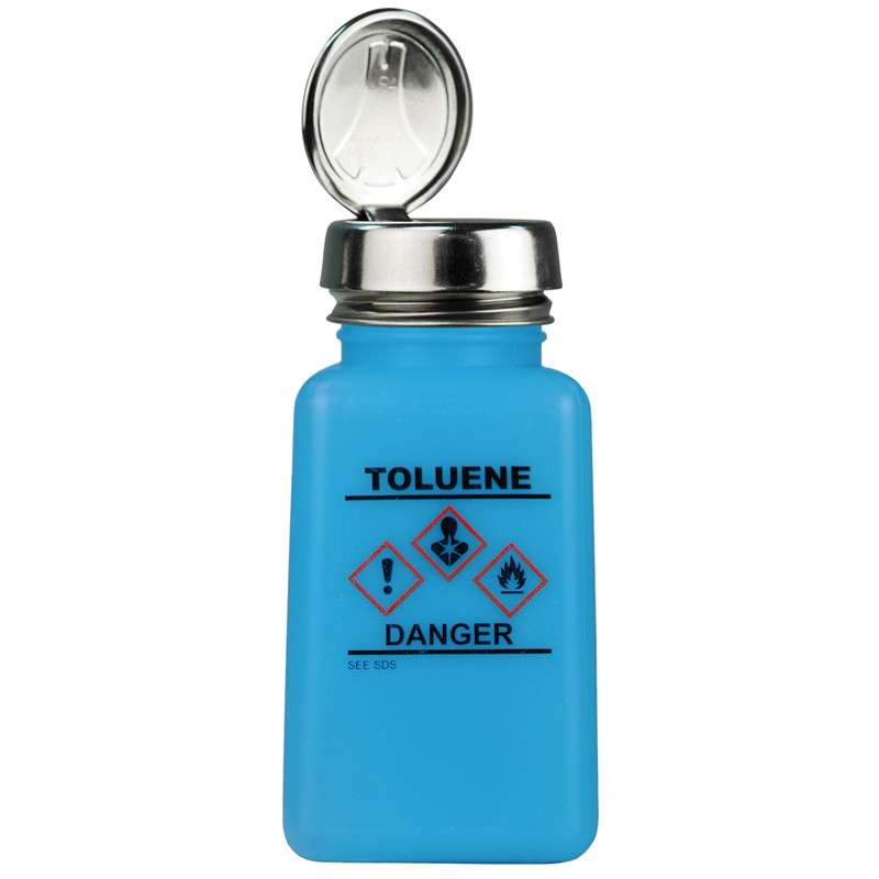 durAstatic™ ESD-Safe Toluene Solvent Dispenser Bottle with HCS Label and One-Touch Pump Lid, Blue, 6 oz.