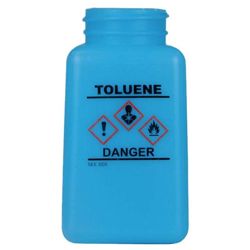 durAstatic™ ESD-Safe Toluene Solvent Dispenser Bottle with HCS Label and No Lid, Blue, 6 oz.