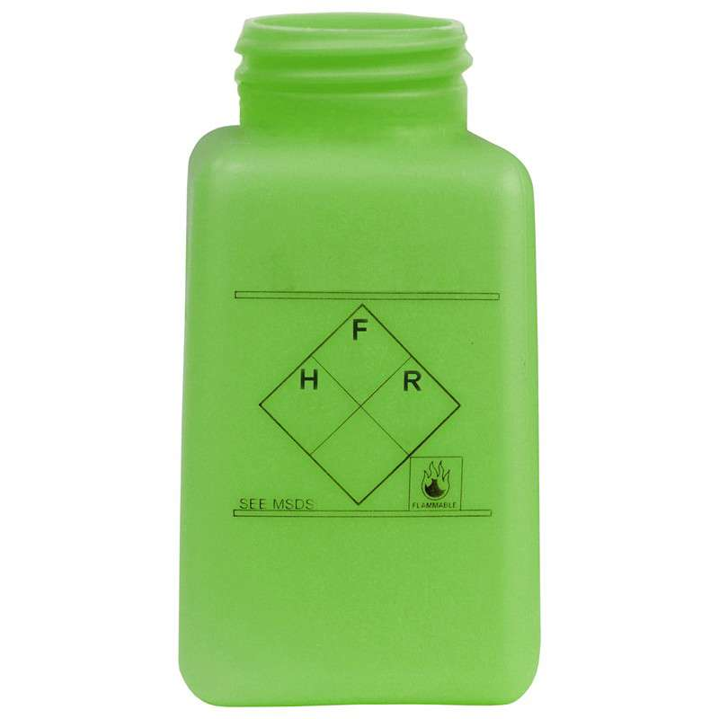 ESD-Safe Green durAstatic™ Hazardous Info Solvent Dispenser Bottle without Lid, 6 oz