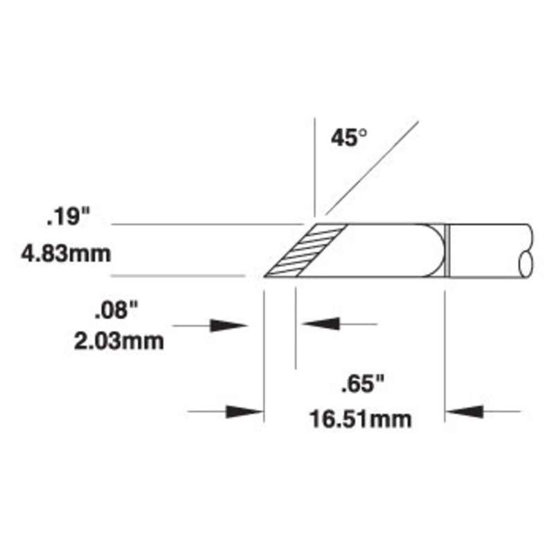 SMTC 500 Series 45° Knife Drag Solder Tip Cartridge for MX Series Systems, 2.03mm