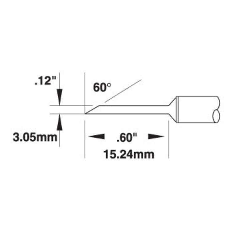 SMTC 700 Series 60° Long Reach Hoof Drag Tip Solder Cartridge for MX Series Systems, 3.05mm
