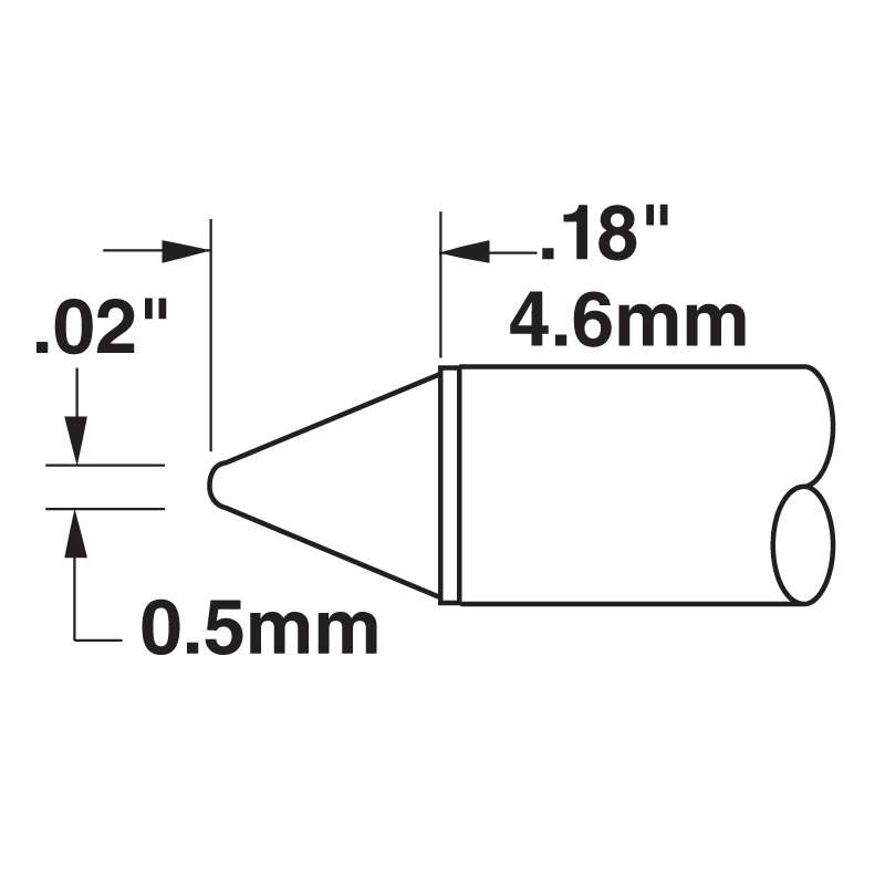 STTC 600 Series Conical Tip Solder Cartridge for MX Series Systems, 0.50mm