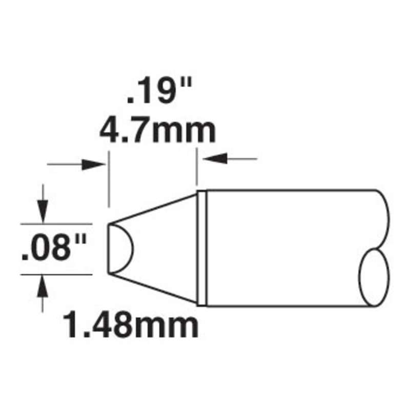 STTC 600 Series 45° Beveled Tip Solder Cartridge for MX Series Systems, 2.03mm