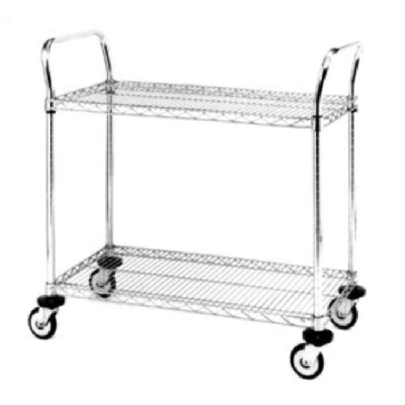 "Heavy Duty Utility Cart, 2 Chrome Wire Shelves, 21""W x 36""L x 39""H"