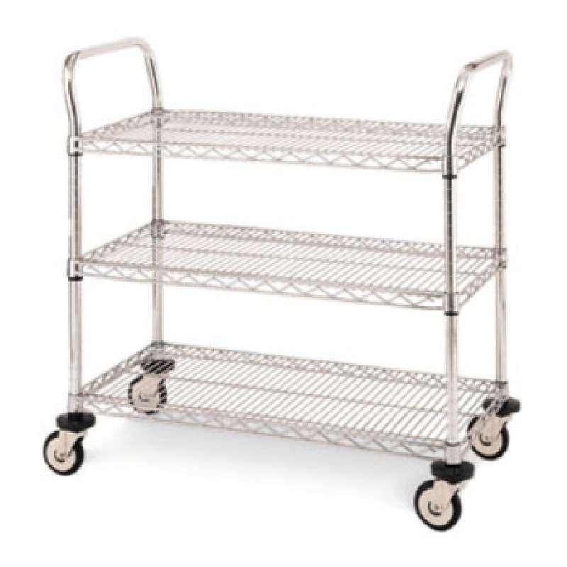"Heavy Duty Utility Cart with 3 Chrome Wire Shelves, 18""W x 42""L x 39""H"