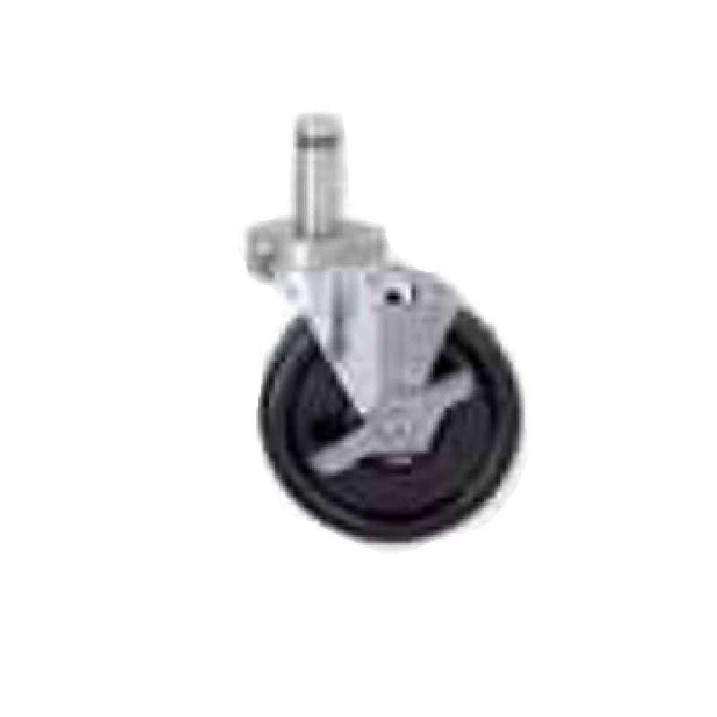 "High Temperature Nylon Autoclave Stem Caster with Brake, 5"" Diameter"