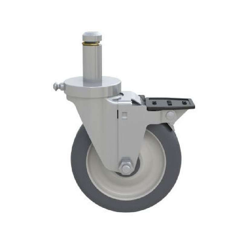 "Stainless Steel Washable Polyurethane Stem/Brake Caster, 5"" diameter, with Donut Bumper"