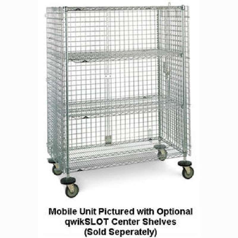 """qwikSLOT Stationary Security Cabinet 21.5 x 38.5 x 67"""", Chrome Wire"""