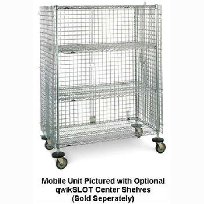 """qwikSLOT Mobile Security Cabinet 21.5 x 40.75 x 68.5"""", Chrome Wire"""