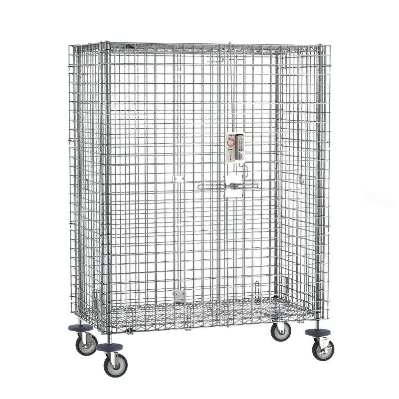 """Super Erecta Mobile Security Shelving Unit with Electronic PIN Lock, Chrome, 27.25x52.75x67.9375"""""""