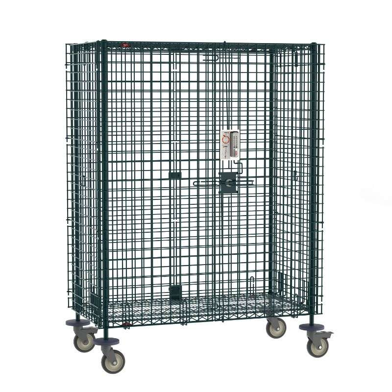 """Super Erecta Mobile Security Shelving Unit with Electronic PIN Lock, seal Green Epoxy, 27.25x52.75x68.4375"""""""
