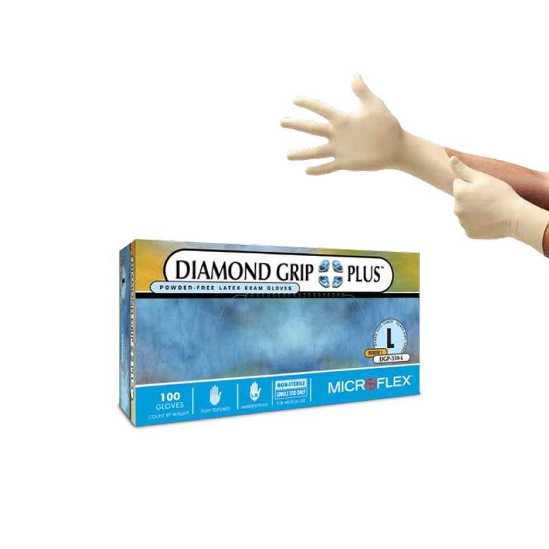 "MICROFLEX®Diamond Grip Plus™ Powder Free Textured Natural Color 5mil Latex Gloves, Small, 9.5"" Long, 100 per Box"