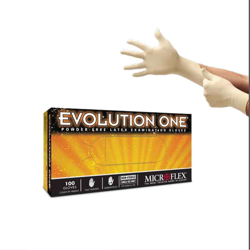 """MICROFLEX®Evolution One® Powder Free Textured Natural Color 5mil Latex Gloves, X-Large, 9.5"""" Long, 100 per Box"""