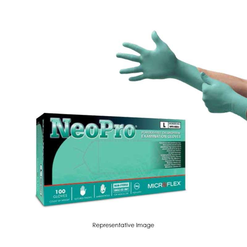 "NeoPro® Powder Free Textured Green 5mil Chloroprene Gloves, Large, 9.5"" Long, 100 per Box"