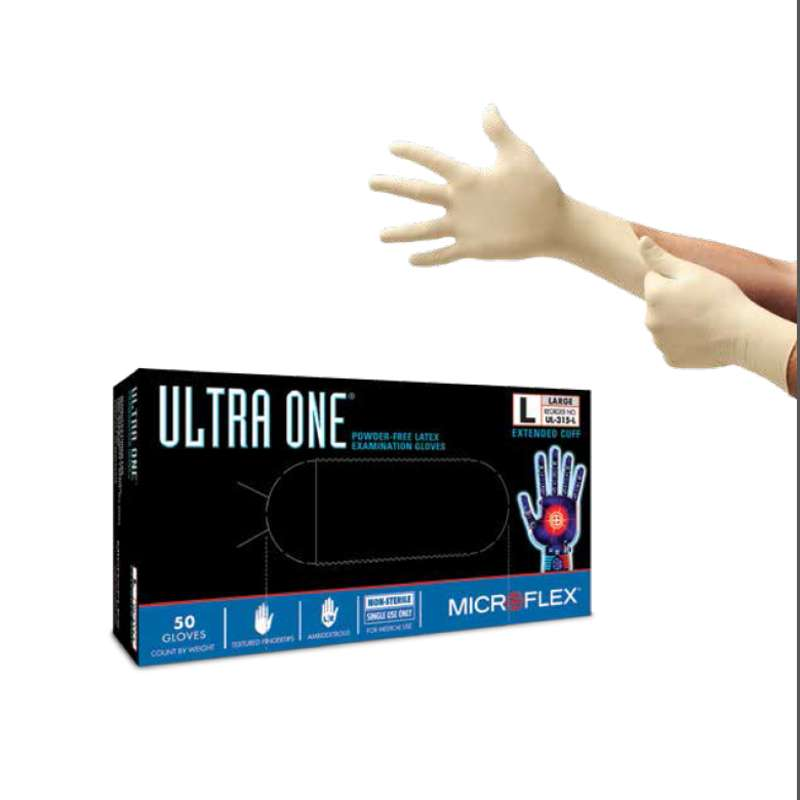 """MICROFLEX®Ultra One® Powder Free Textured Natural Color 11mil Latex Gloves, Small, 12"""" Long, 50 per"""