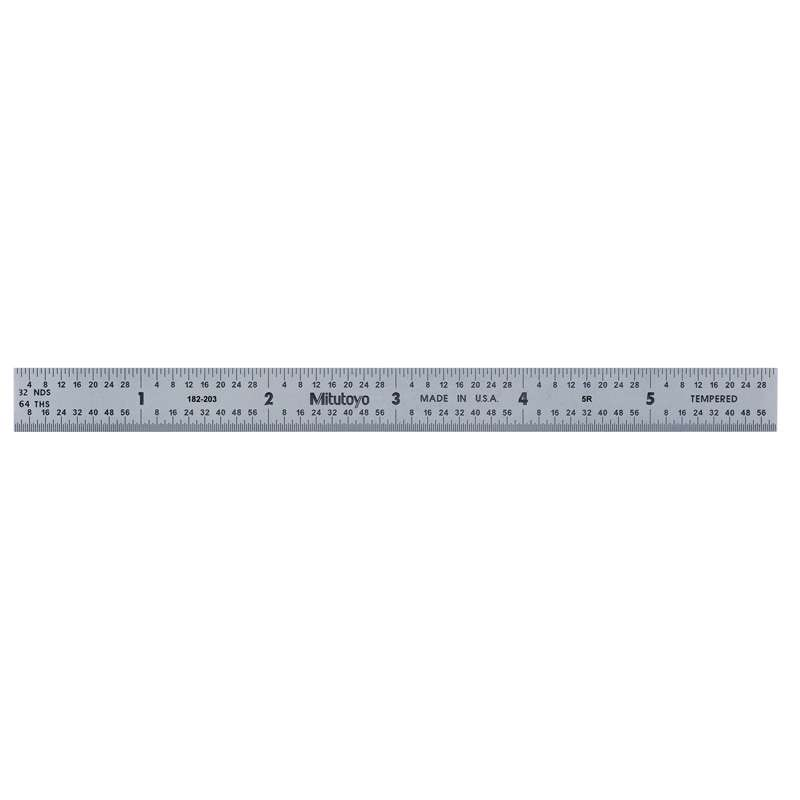 """Full Flexible Tempered Stainless Steel Rule with Clear Graduations and Chrome Finish, 6"""" Long (5R)"""