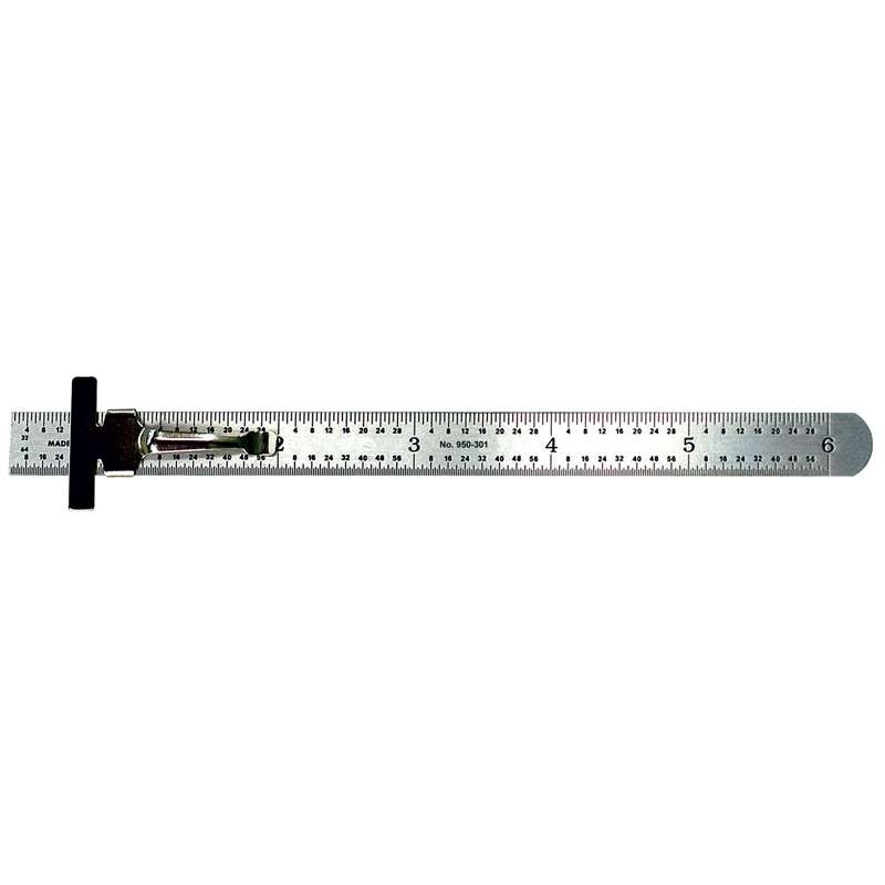 """Series 950 Pocket Steel Rule with Inch/Metric Equivalents and Clip, 6"""" Long"""