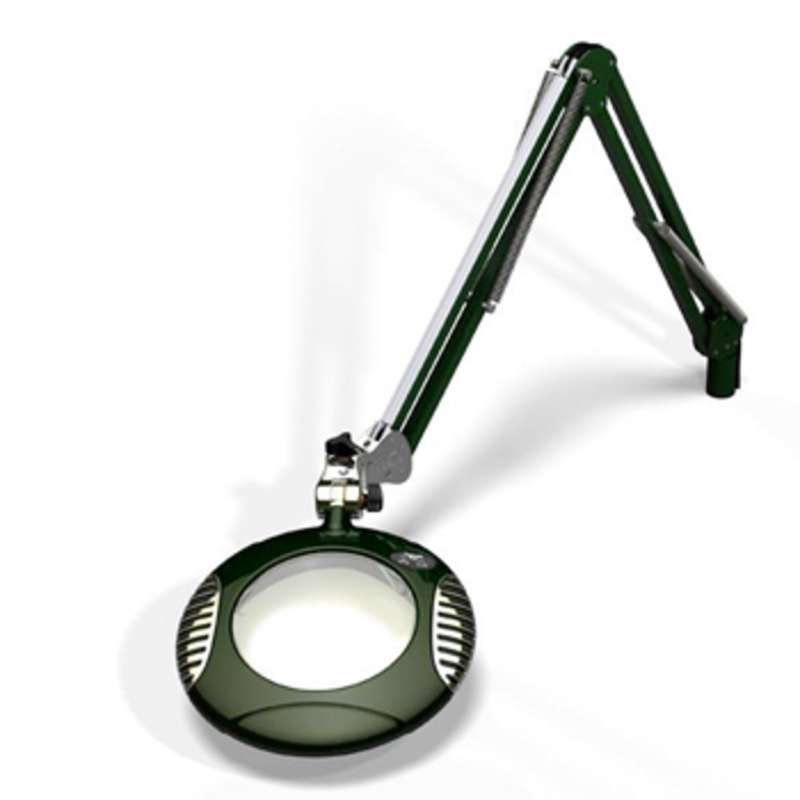 """Green-Lite™ ESD-Safe 4-Diopter LED Magnifier with 43"""" Reach and Clamp Base, Racing Green"""