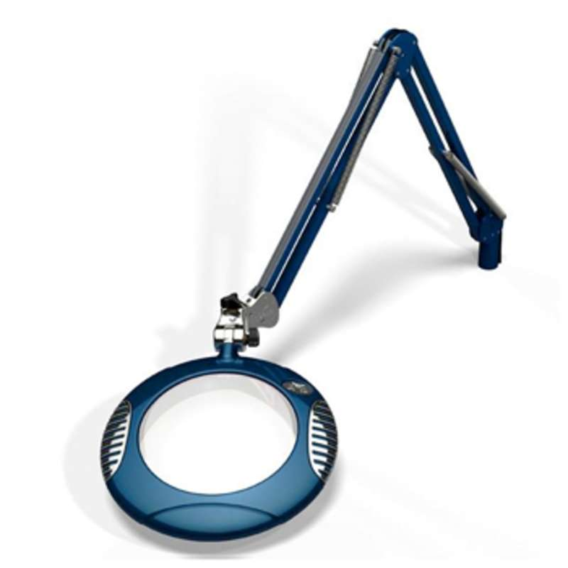 """Green-Lite™ ESD-Safe 4-Diopter LED Magnifier with 43"""" Reach and Clamp Base, Spectre Blue"""