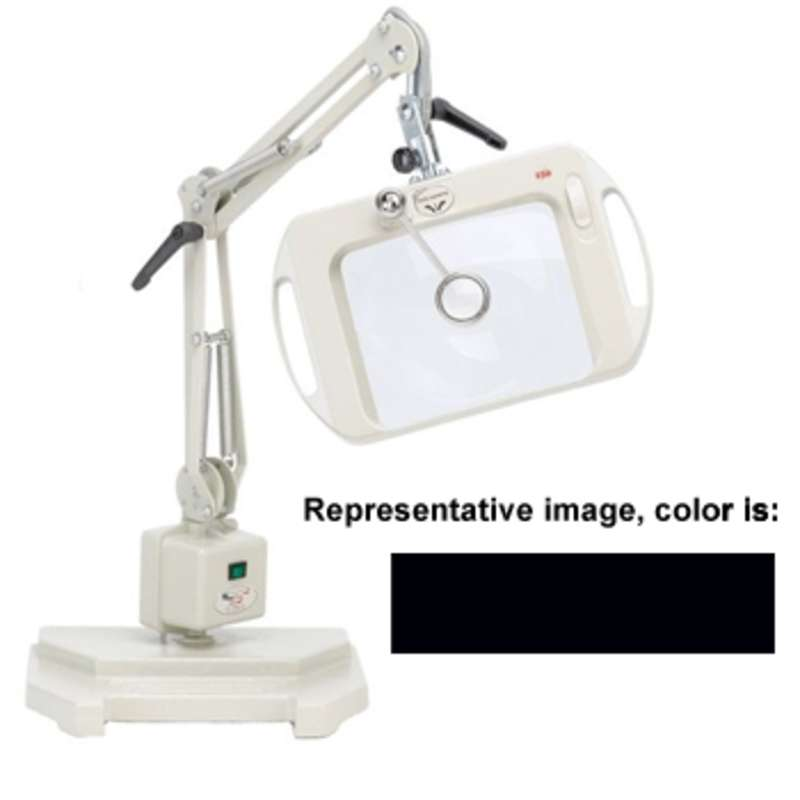 """ESD-Safe Vision-Lite® 3-Diopter Fluorescent Magnifier with 25"""" Reach and Weighted Base, Carbon Black"""