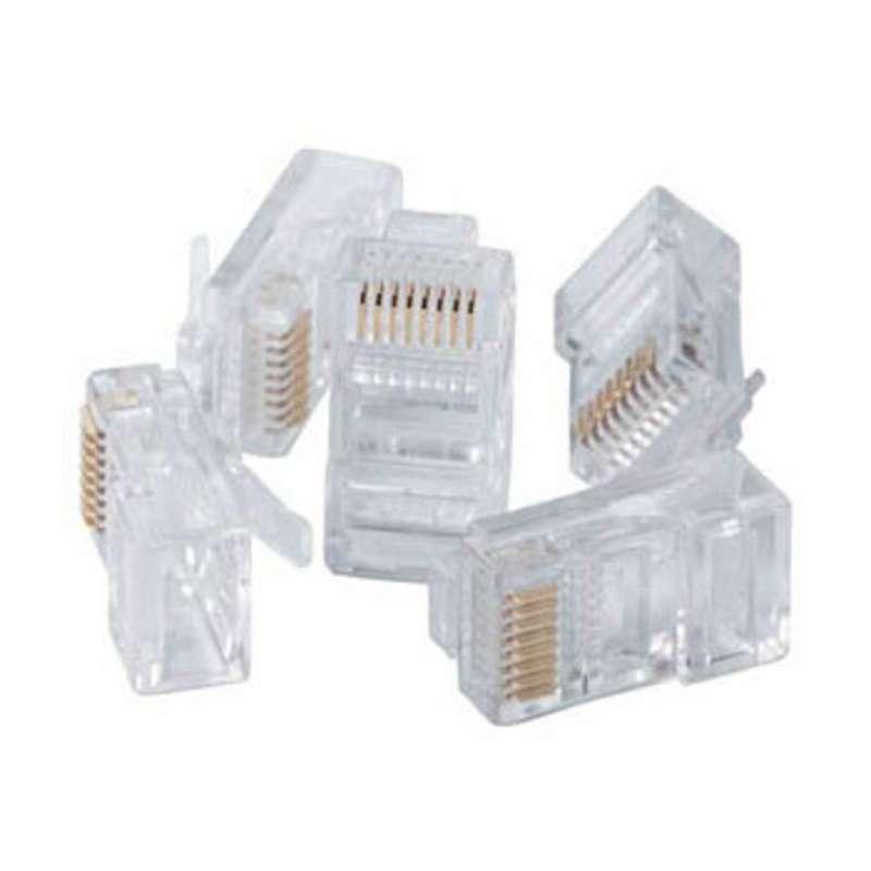 RJ45 Modular 8P8C Plug for CAT5e Cables, 10 per Pack