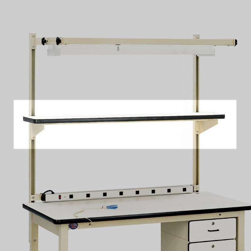 "Cantilever Shelf with Plastic White Laminate Top, Black T-Mold Edge, Light Blue Frame, 12"" x 72"""