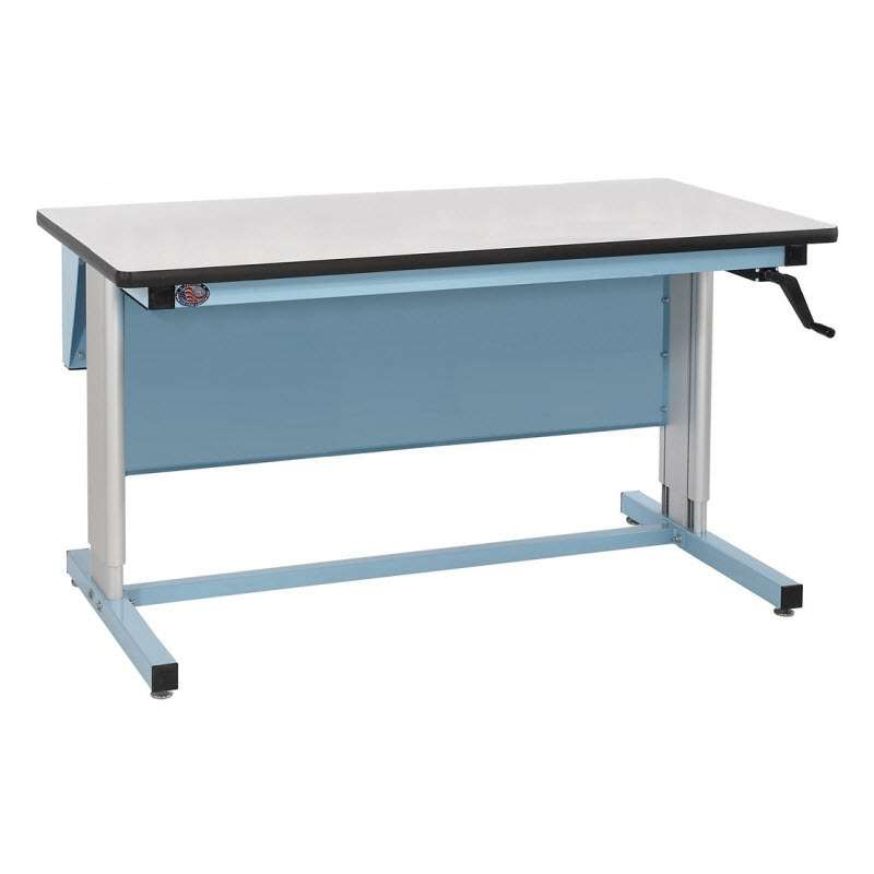 """Ergo-Line Series Quick Ship Non-ESD Workbench, 30""""D x 72""""L, Manual Crank Height Adjustment from 30"""""""