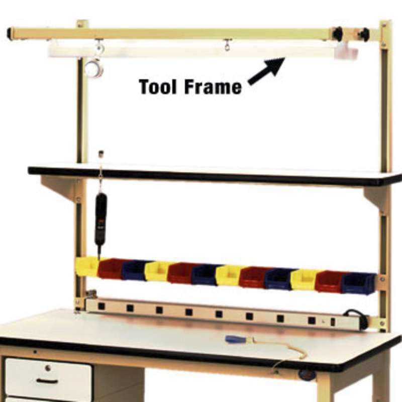 """Light Tool Suspension Frame with Two Tool Trolleys for 60"""" Benches Overhead Light Frame OLF60"""