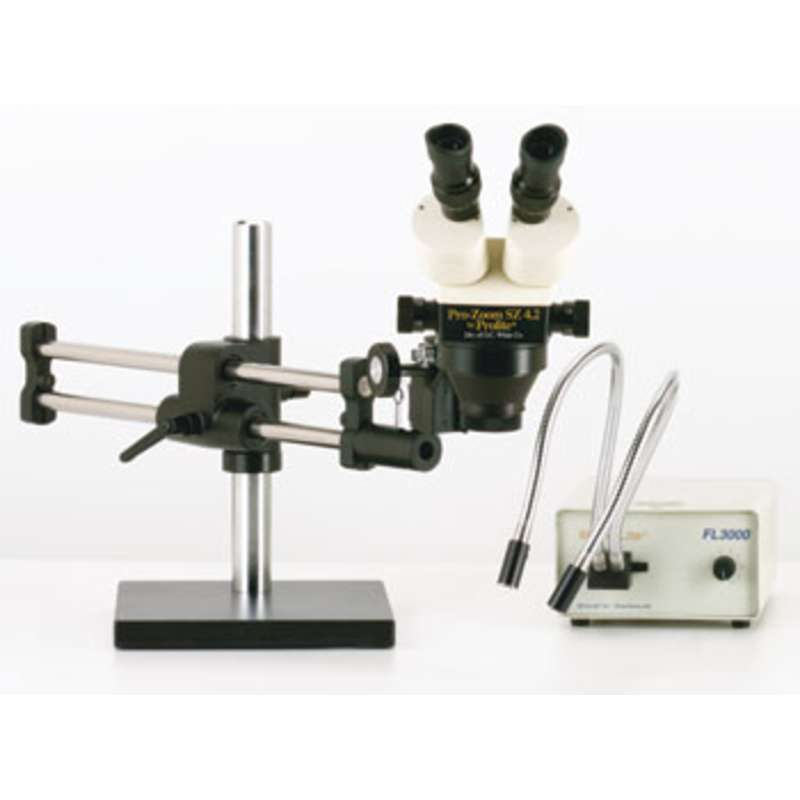 Stereo-Zoom 4.5 ESD-Safe Microscope with Dual Arm Base and Fiber Optic Dual Point Light Source