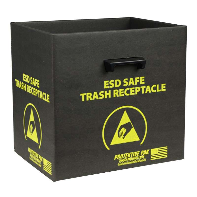 Black Trash Receptacle with Handles and Wires