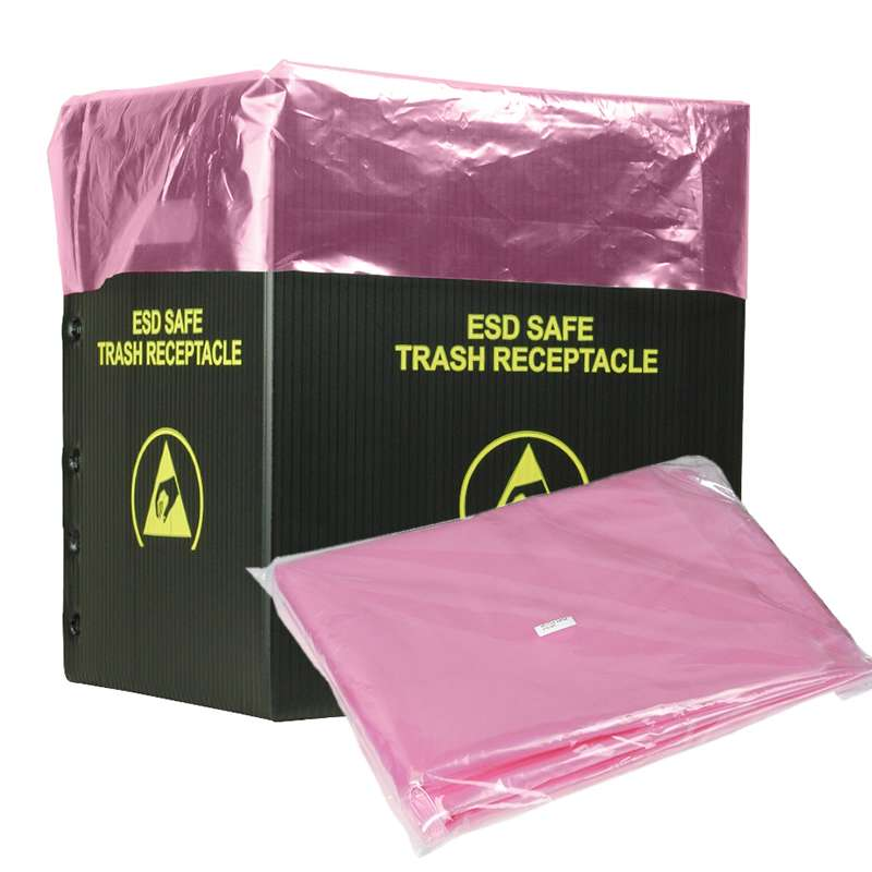 """ESD-Safe Pink Trash Can Liner, 26 x 26"""",10 Gallon, Pack of 50"""