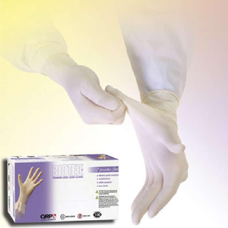"Biotek® Medical Grade 6mil White Powder-Free Latex Gloves, X-Large, 9"" Long, 100 per Package"