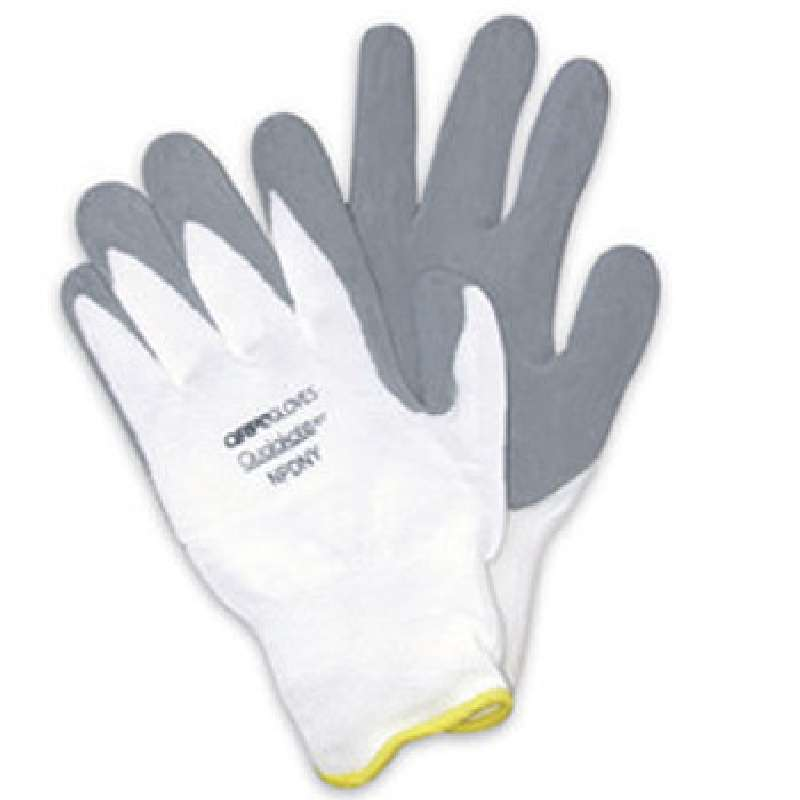 Qualagrip® White Assembly and Inspection Gloves with Grey Nitrile-Foam Dipped Palms and Fingers, Medium, 1 Pair