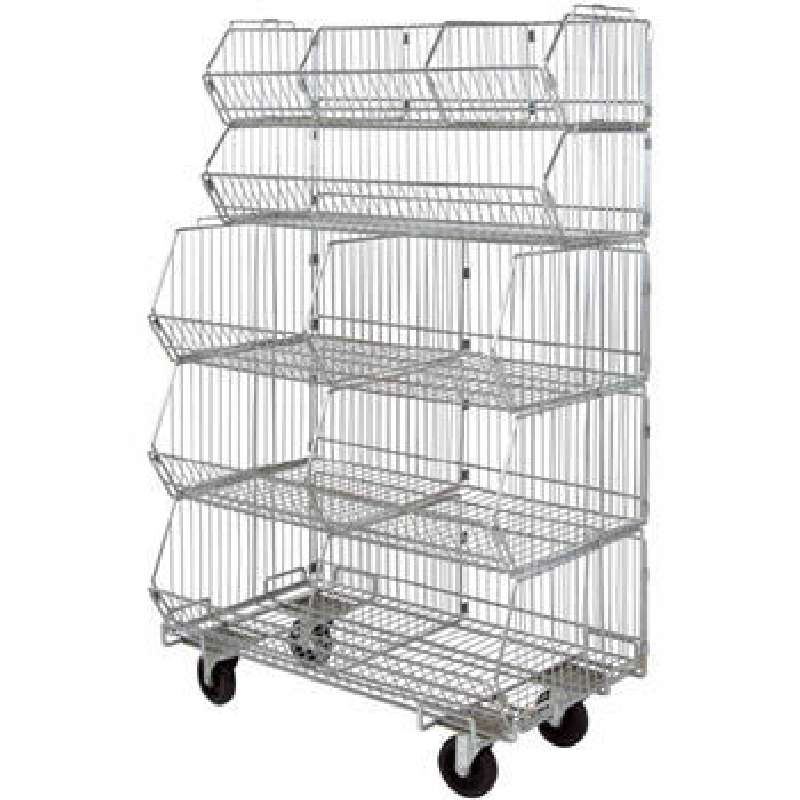 Mobile Stacking Basket Unit, 5 Baskets, 5 Dividers, 1 Dolly, approx 20 W x 36 L x 60in H