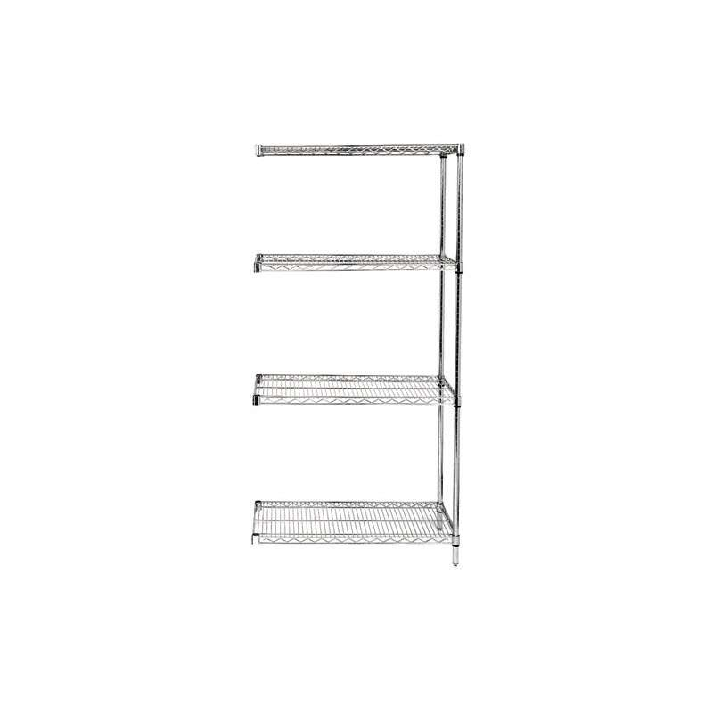 Wire Shelving Unit, Add-On Kit, 4 Shelves 18in x 48in x 54in - Stainless Steel