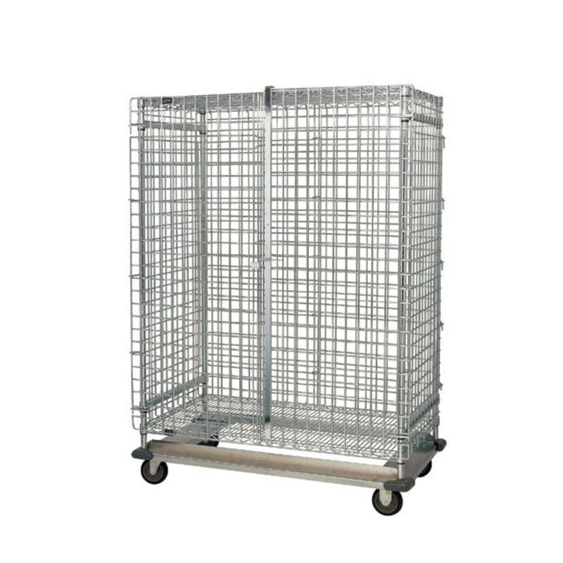 """Wire Security Cart, with Dolly Base, 24""""W x 60""""L x 70""""H"""
