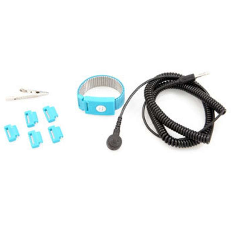 Adjustable Metal Band Wrist Strap with 12' Coil Cord