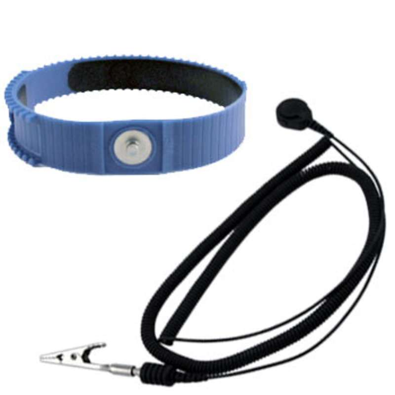 Adjustable Plastic Wrist Strap, Blue, 5' Lightweight Coil Cord and 4mm Snap