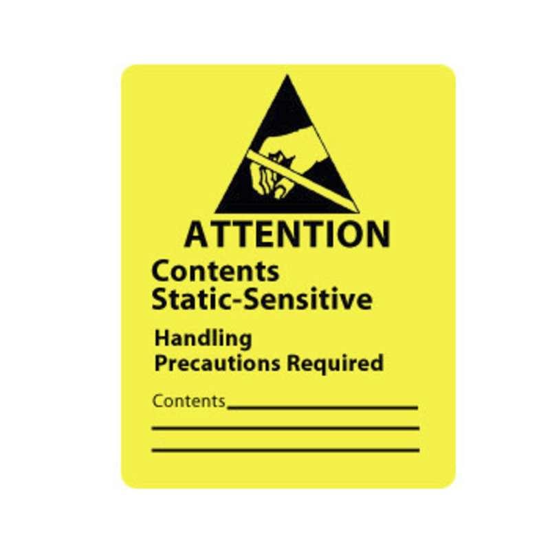 "Static Awareness Label ""Contents Static-Sensitive"", 1-7/8 x 2-1/2"", 500/Roll"