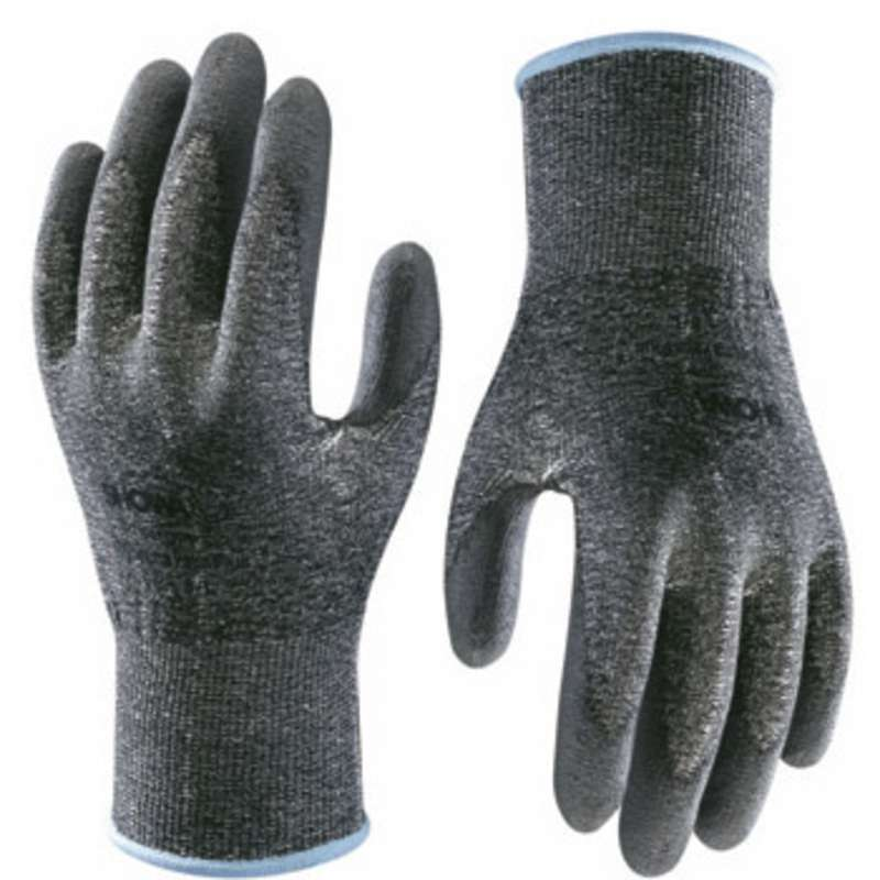 Hi-Tech Black Level 2 Cut Resistant Gloves with Smooth Grey Polyurethane Coated Palm and Fingers, 1 Pair, Medium