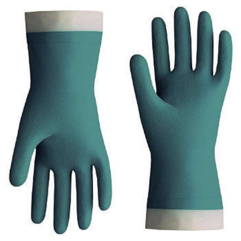 """Nitri-Solve® 15mil Flock-Lined Teal Chemical Resistant Gloves, X-Small, 13"""" Long, 12 Pair per Pack"""