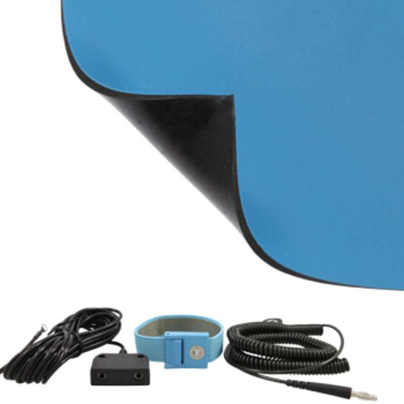 FS Series 2-Layer Diss/Cond Smooth Econo Rubber Worktop Mat Kit with Wrist Strap, Ground Cord and Two Snaps, Blue/Black, 24 x 72 x .080