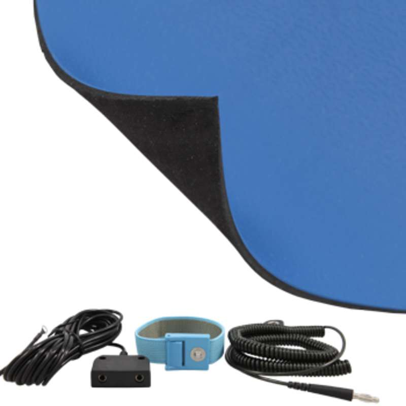 FT Series 2-Layer Diss/Cond Textured Heavy Duty Rubber Worktop Mat Kit with Wrist Strap, Ground Cord and Two Snaps, Dark Blue/Black, 24 x 72 x .080