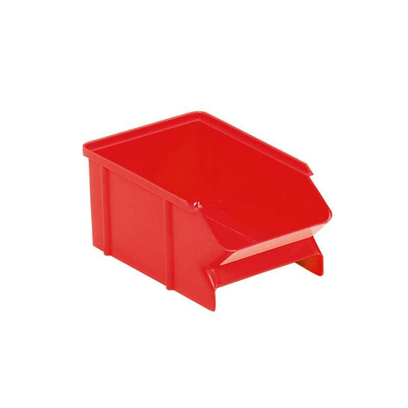 "Polypropylene Treston® Stacking Bin, 6.3""D x 3.9""W x 2.76""H, Red, Case of 60 Bins"